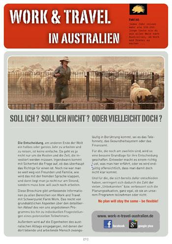 Titelbild der Work and Travel Infobroschüre