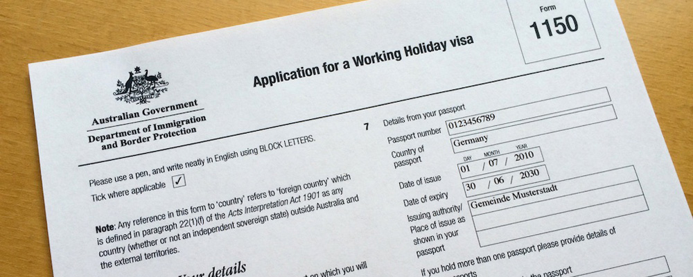 Working Holiday visa application form